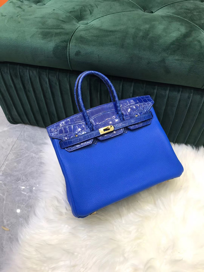 Hermes Birkin Bag Original Leather crocodile togo HBK2530 Electro optic blue