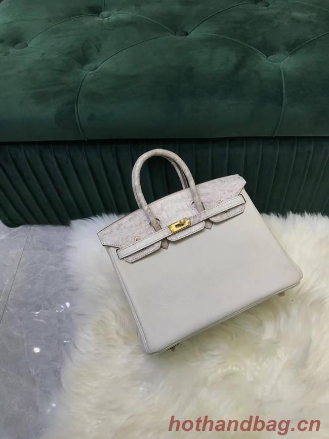 Hermes Birkin Bag Original Leather crocodile togo HBK2530 light grey&white