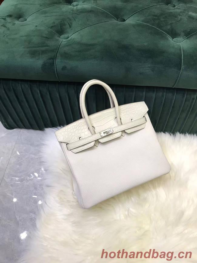 Hermes Birkin Bag Original Leather crocodile togo HBK2530 &white