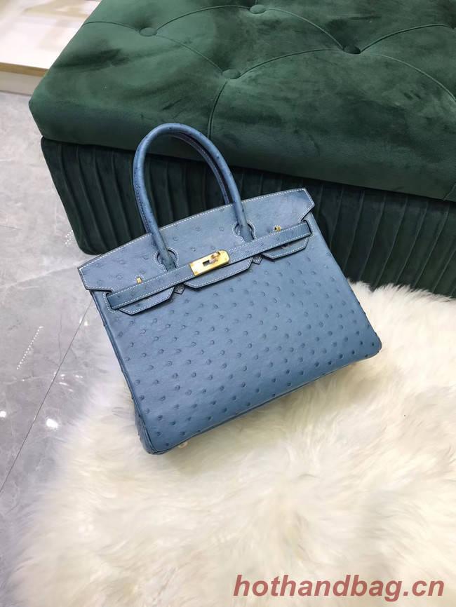 Hermes Birkin Bag Original Leather Ostrich skin HBK2530 Blue