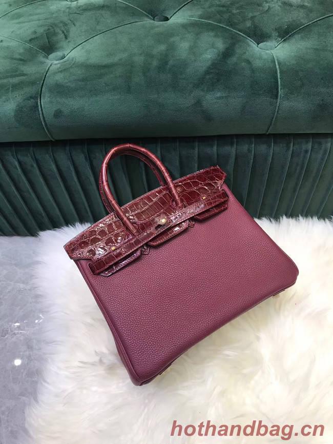 Hermes Birkin Bag Original Leather crocodile togo HBK2530 Burgundy