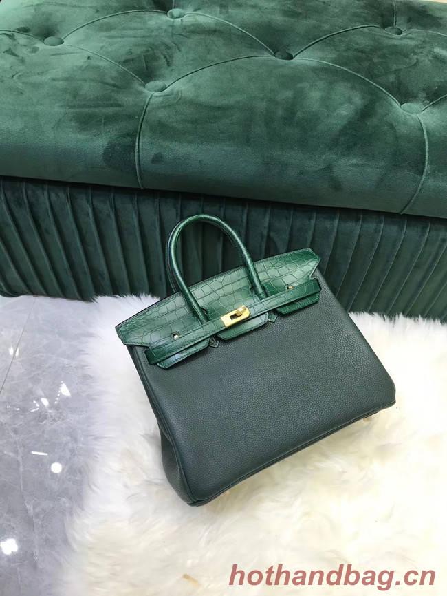 Hermes Birkin Bag Original Leather crocodile togo HBK2530 blackish green