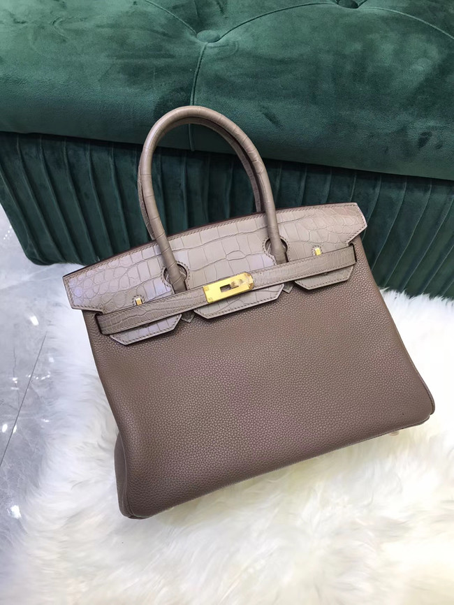 Hermes Birkin Bag Original Leather crocodile togo HBK2530 gray