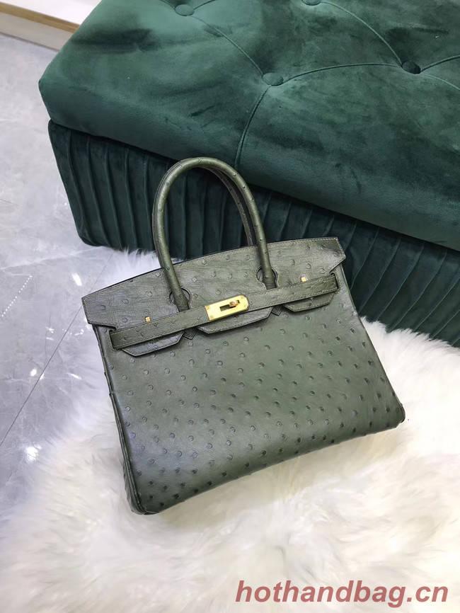 Hermes Birkin Bag Original Leather Ostrich skin HBK2530 blackish green