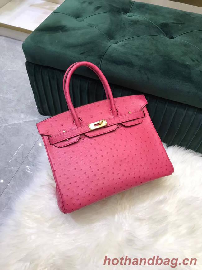 Hermes Birkin Bag Original Leather Ostrich skin HBK2530 rose
