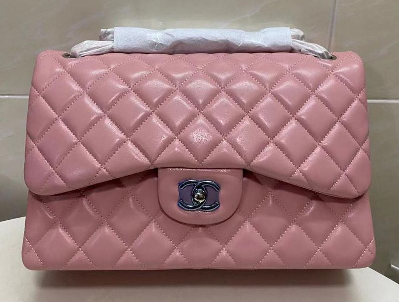 Chanel Double Flaps Bags Original Sheepskin Leather Jumbo Pink A36097 Gold