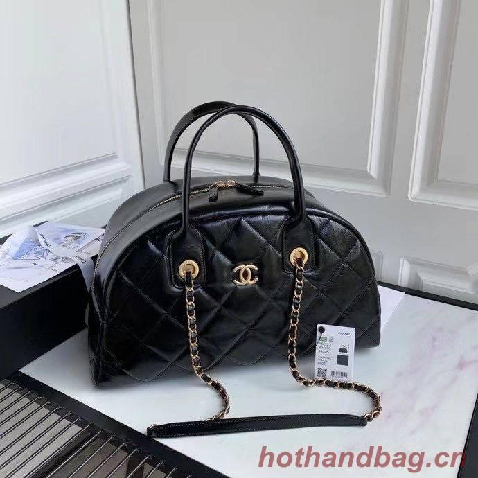 Chanel Original Sheepskin Leather Travel Bag Black AS2223 Gold