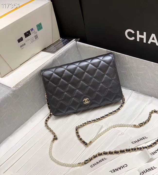 Chanel mini wallet on chain Gold-Tone Metal A84277 black
