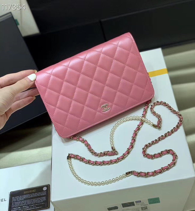 Chanel mini wallet on chain Gold-Tone Metal A84277 pink