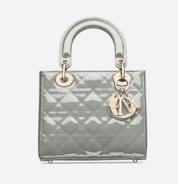 SMALL LADY DIOR BAG gray Patent Calfskin M0531