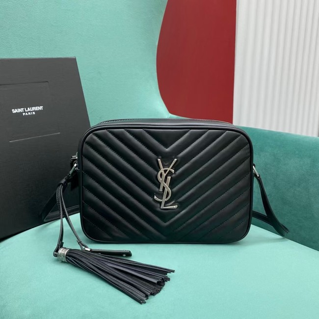 Yves Saint Laurent LOU CAMERA BAG IN QUILTED LEATHER 612544 black&silver