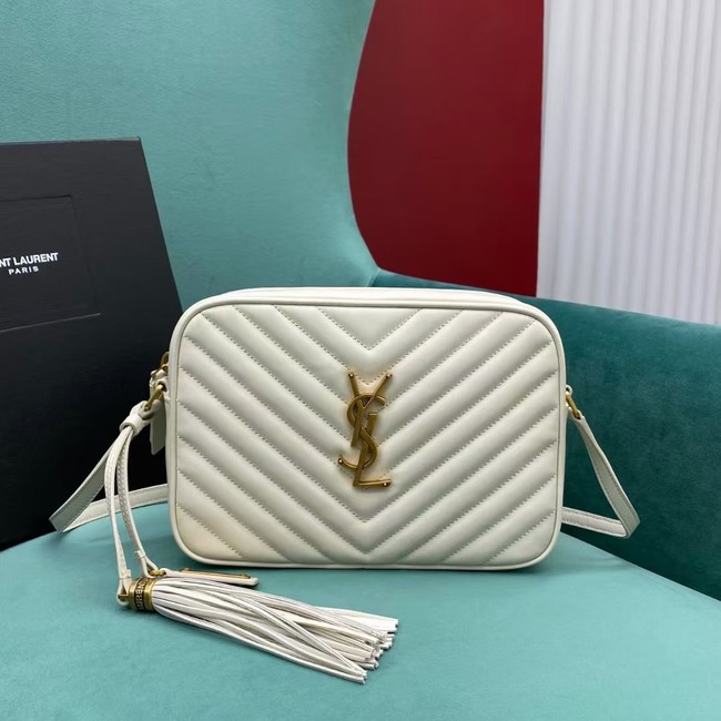 Yves Saint Laurent LOU CAMERA BAG IN QUILTED LEATHER 612544 white