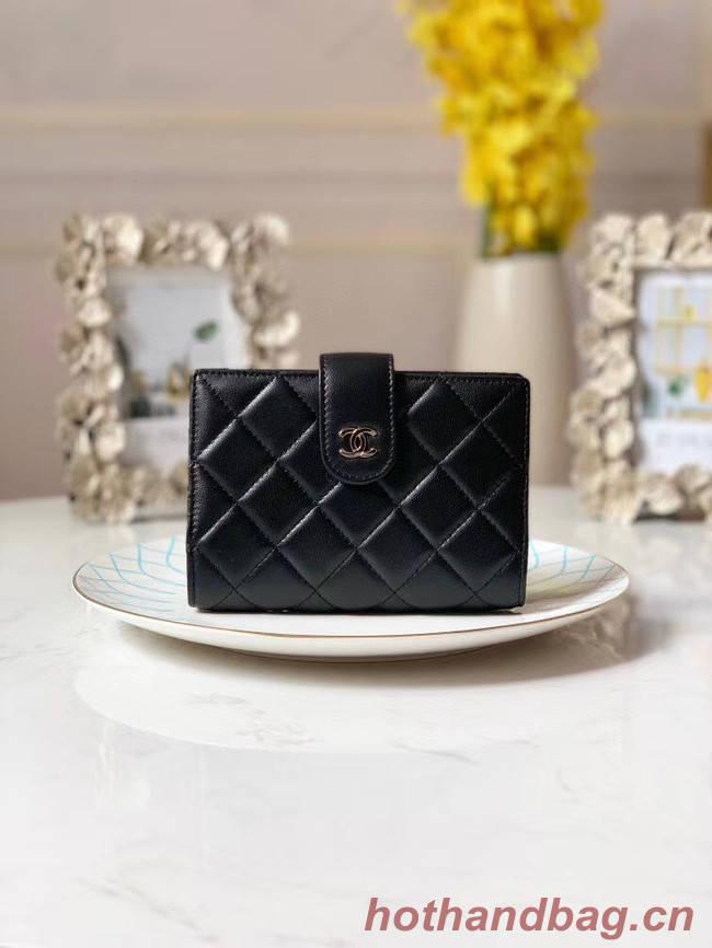 CHANEL sheepskin notebook & Wallet A012 black