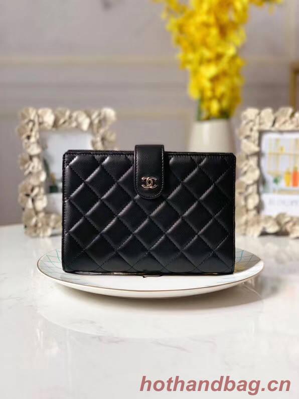 CHANEL sheepskin notebook & Wallet A013 black