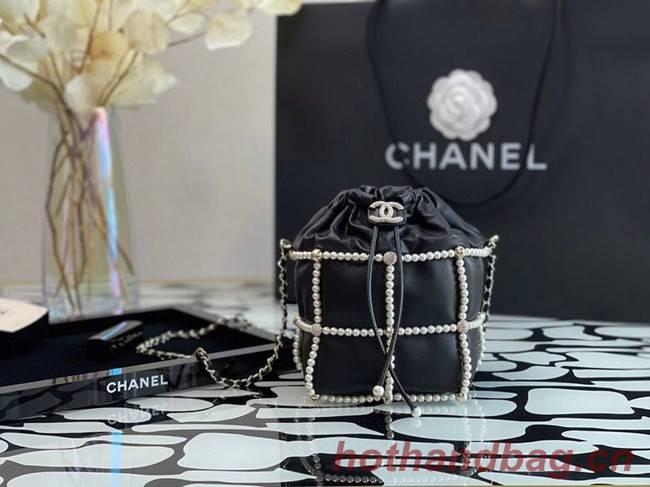 Chanel drawstring bag Lambskin & Gold Metal AS2388 black