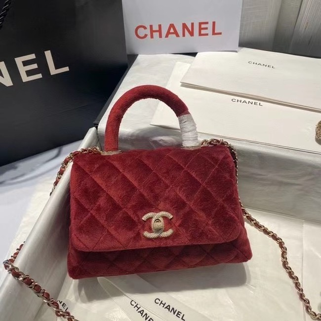Chanel mini flap bag with top handle AS2215 Burgundy