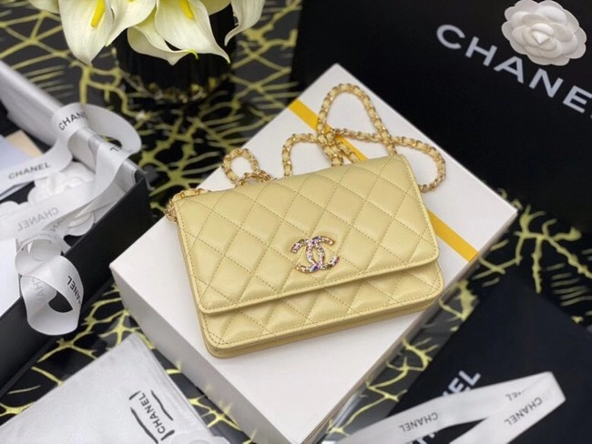 Chanel wallet on chain Grained Calfskin & Laquered Gold-Tone Metal AP2021 yellow
