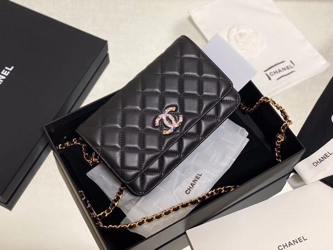 Chanel wallet on chain Lambskin & Laquered Gold-Tone Metal AP2021 black