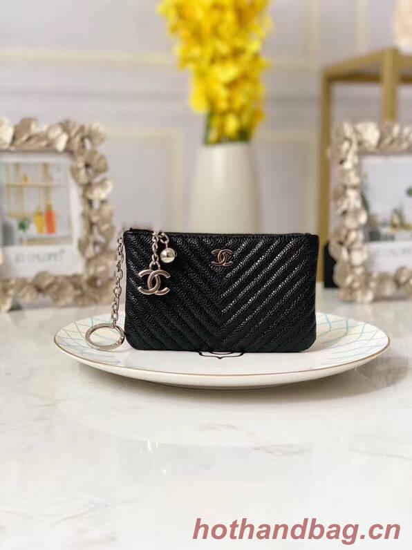 Chanel zipped wallet Goatskin AP31504-2 Black