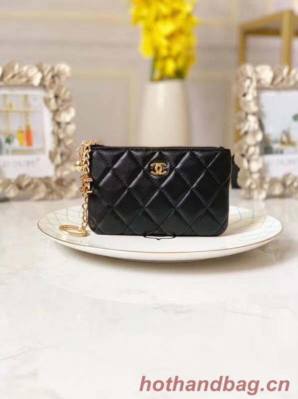Chanel zipped wallet Goatskin AP31504-4 Black