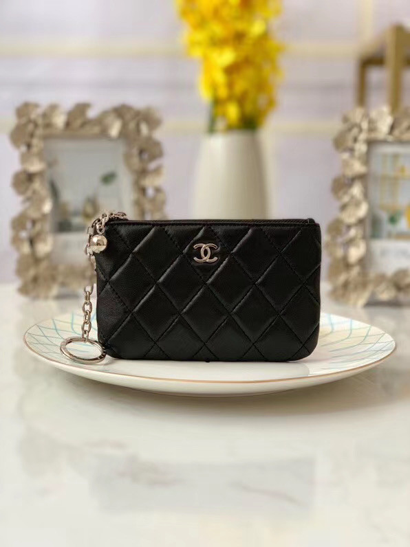 Chanel zipped wallet Goatskin AP31504-5 Black