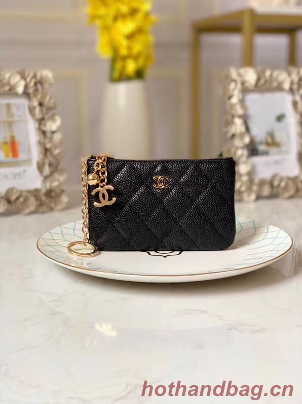 Chanel zipped wallet Goatskin AP31504-6 Black