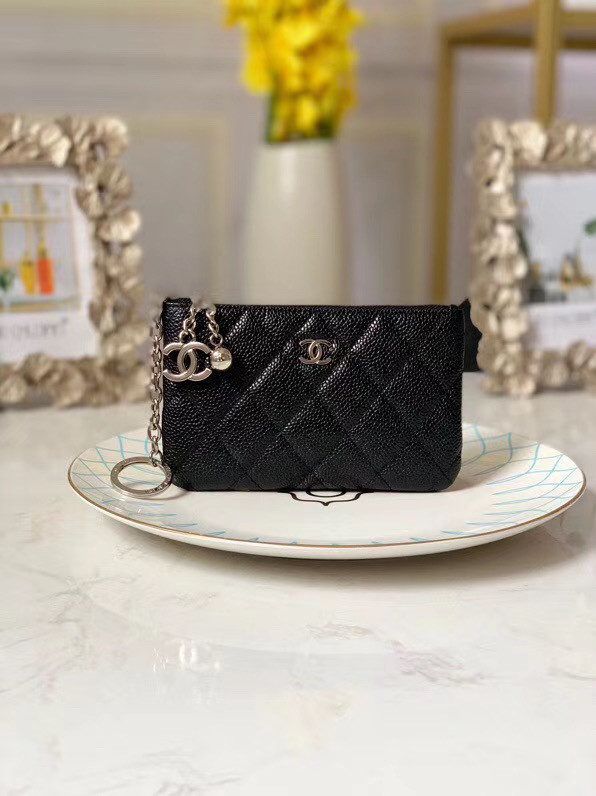Chanel zipped wallet Goatskin AP31504-7 Black