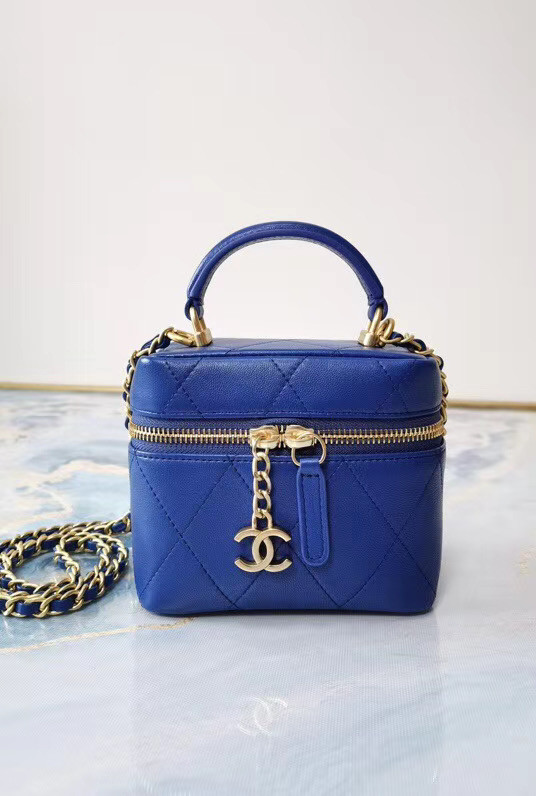 Chanel Lambskin Crystal Calfskin & Gold-Tone Metal AS1889 blue