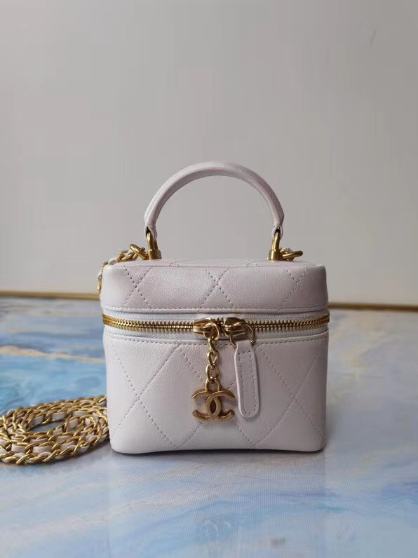 Chanel Lambskin Crystal Calfskin & Gold-Tone Metal AS1889 white