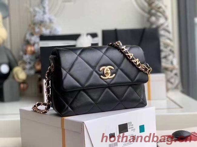 Chanel flap bag Lambskin & Gold-Tone Metal AS2299 black