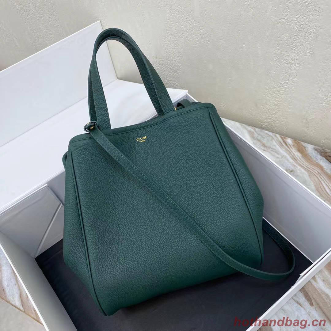 Celine LARGE SOFT BAG IN SUPPLE GRAINED CALFSKIN 55825 blackish green