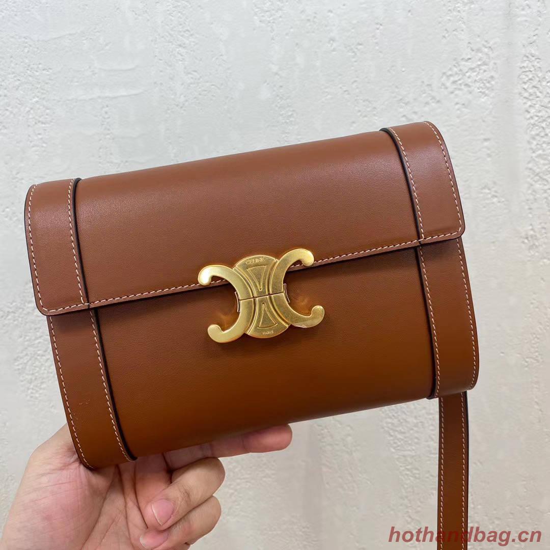 Celine TEEN TRIOMPHE BAG IN SHINY CALFSKIN 195263 brown
