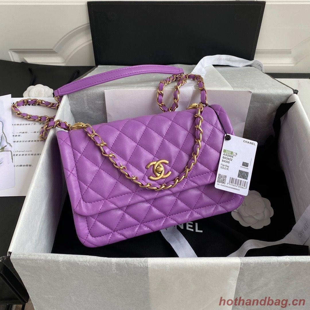 Chanel Flap Bag Sheepskin & Gold-Tone Metal AP1737 Purple