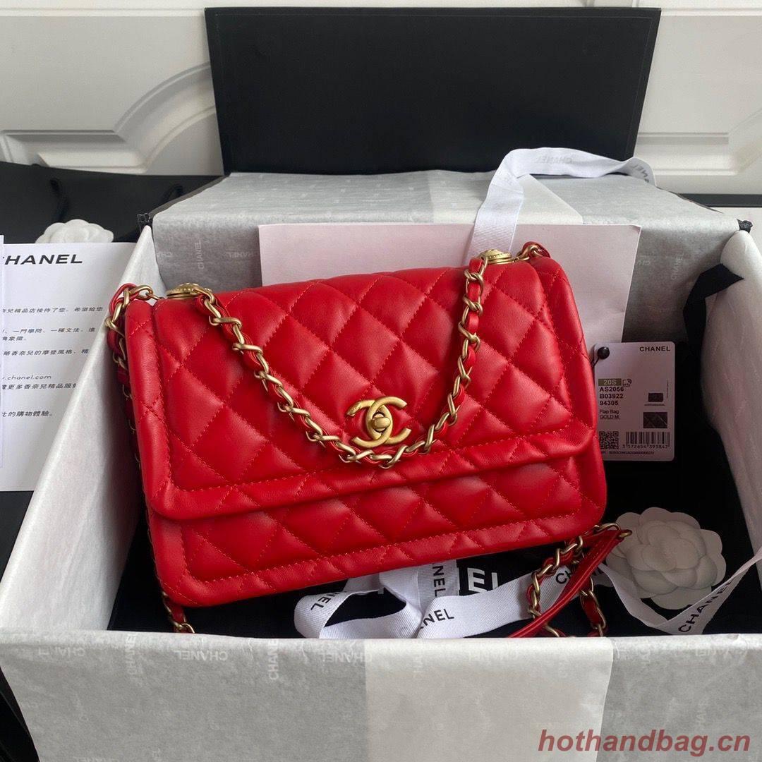 Chanel Flap Bag Sheepskin & Gold-Tone Metal AP1737 Red