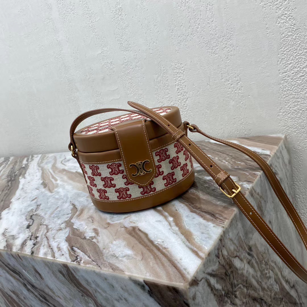 CELINE MEDIUM TAMBOUR BAG IN TEXTILE WITH TRIOMPHE EMBROIDERY 195192 brown&red