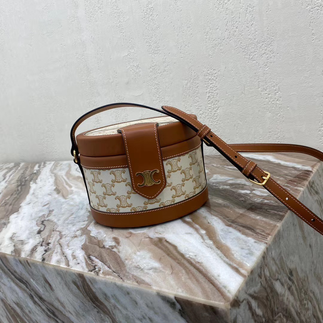 CELINE MEDIUM TAMBOUR BAG IN TEXTILE WITH TRIOMPHE EMBROIDERY 195192 brown&white