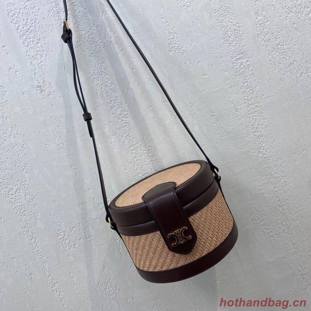 CELINE MEDIUM TAMBOUR BAG IN TRIOMPHE CANVAS 195192 brown