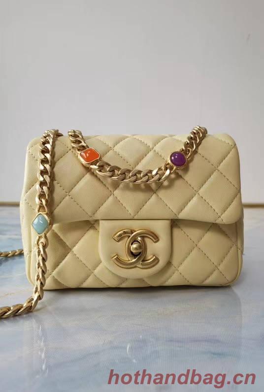 Chanel flap bag Lambskin Resin & Gold-Tone Metal AS2379 Yellow