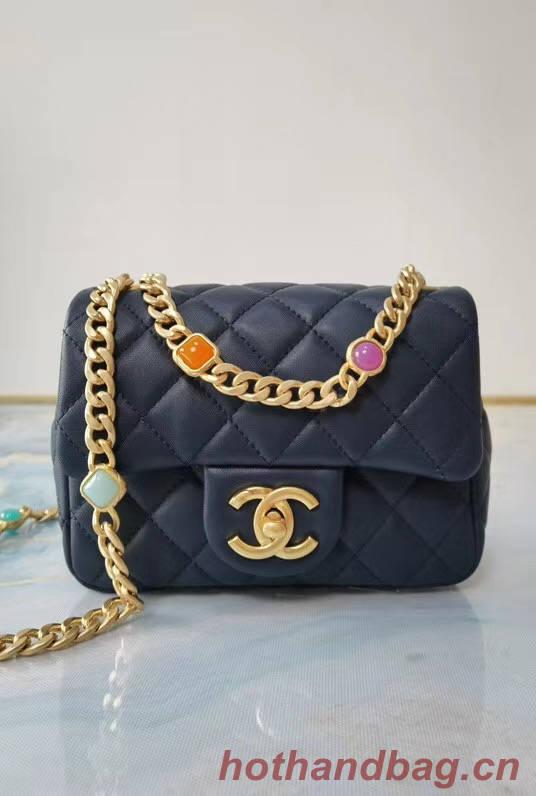 Chanel flap bag Lambskin Resin & Gold-Tone Metal AS2379 dark blue