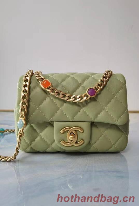Chanel flap bag Lambskin Resin & Gold-Tone Metal AS2379 light green