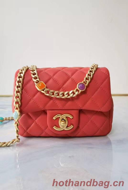 Chanel flap bag Lambskin Resin & Gold-Tone Metal AS2379 red