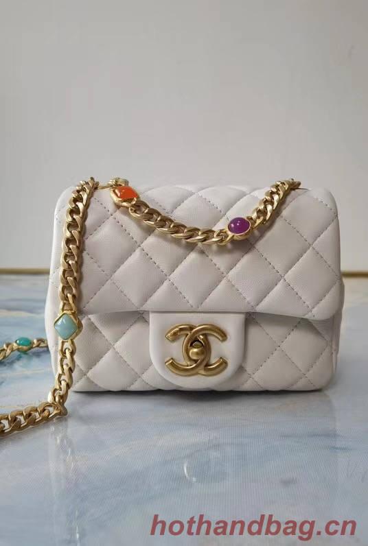 Chanel flap bag Lambskin Resin & Gold-Tone Metal  AS2379 white