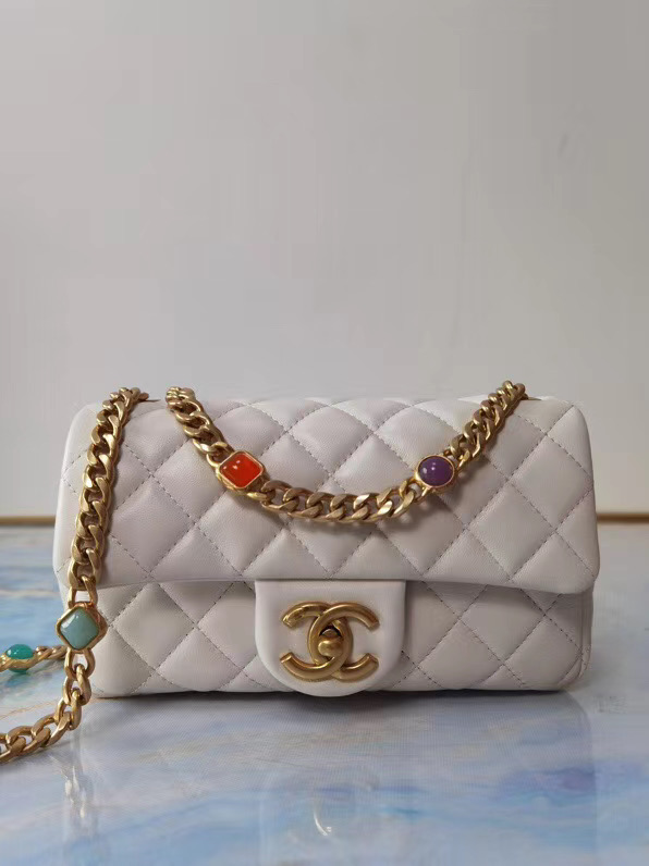 Chanel flap bag Lambskin Resin & Gold-Tone Metal AS2380 white