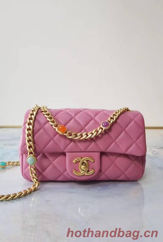 Chanel flap bag Lambskin Resin & Gold-Tone Metal AS2380 Pink