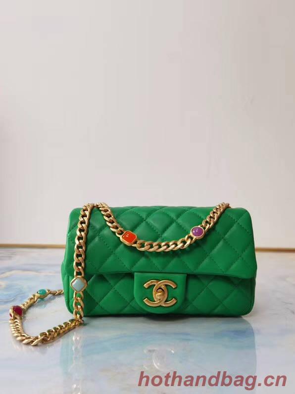 Chanel flap bag Lambskin Resin & Gold-Tone Metal AS2380 green