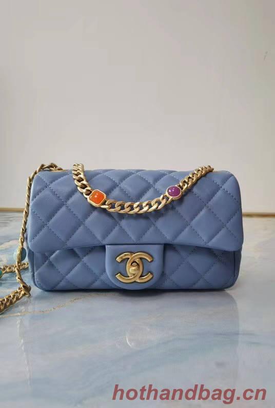 Chanel flap bag Lambskin Resin & Gold-Tone Metal AS2380 light blue