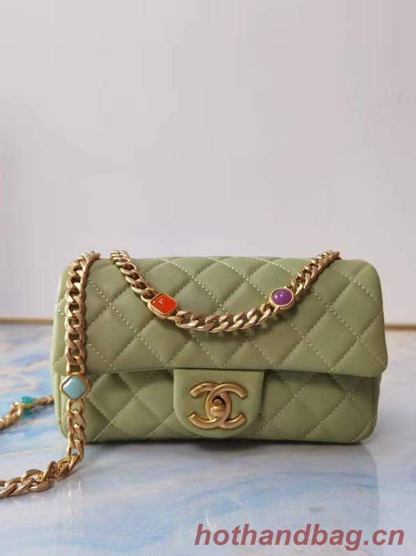 Chanel flap bag Lambskin Resin & Gold-Tone Metal AS2380 light green