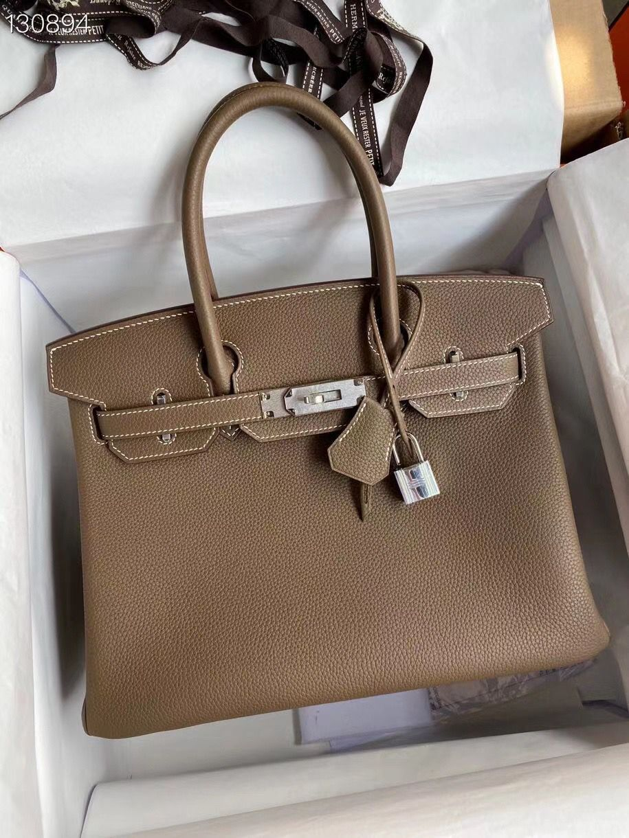 Hermes Birkin Bag Original Togo Leather 17825 Gray