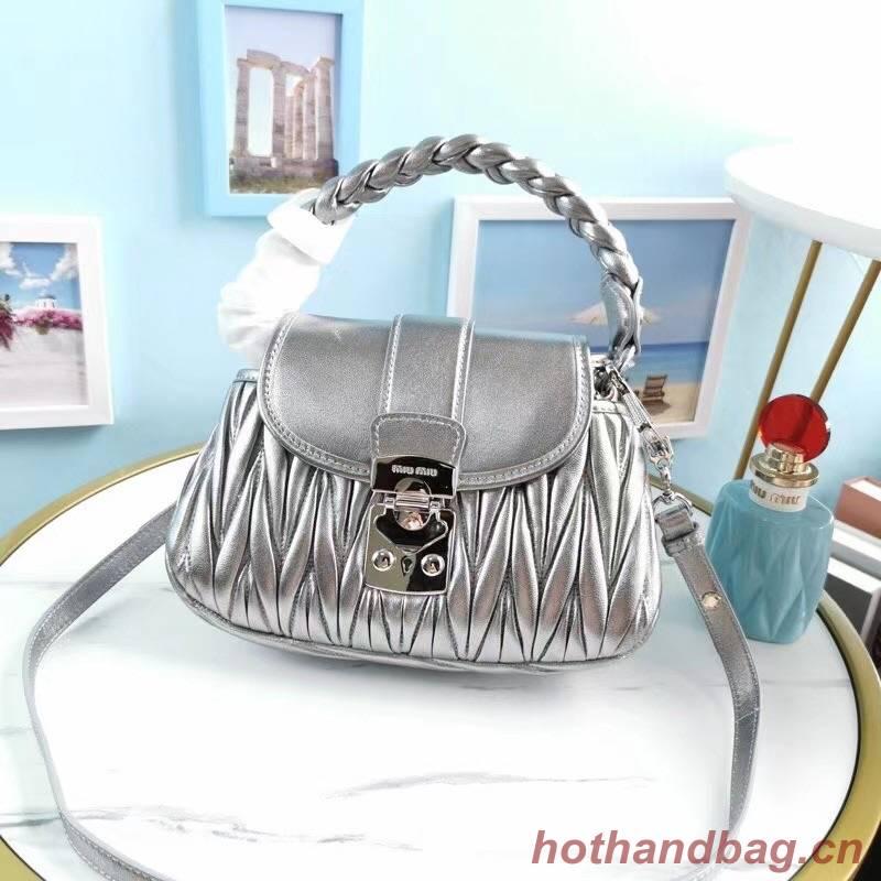 miu miu Matelasse Nappa Leather Top-handle Bag 6998 Silver