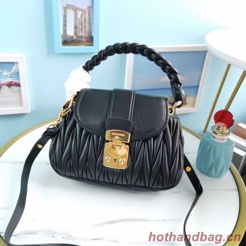 miu miu Matelasse Nappa Leather Top-handle Bag 6998 black